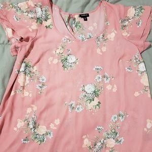 Torrid 00 Pink Floral Blouse
